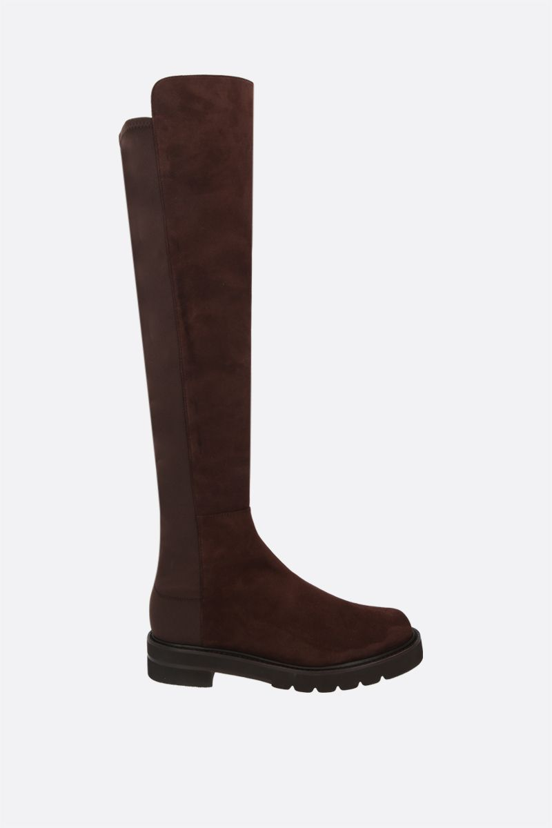STUART WEITZMAN: 5050 Lift suede and stretch gabardine over-the-knee boots Color Brown_1