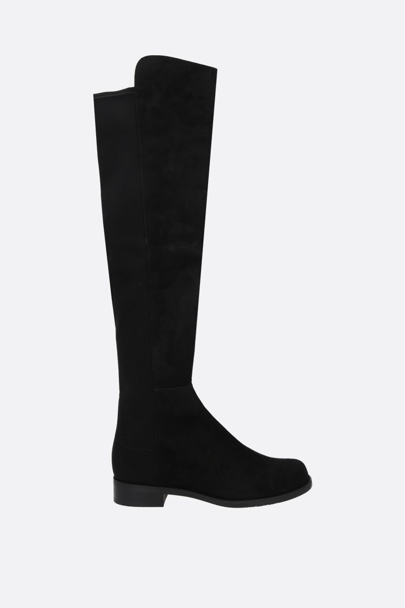 STUART WEITZMAN: 5050 suede and stretch gabardine over-the-knee boots Color Black_1