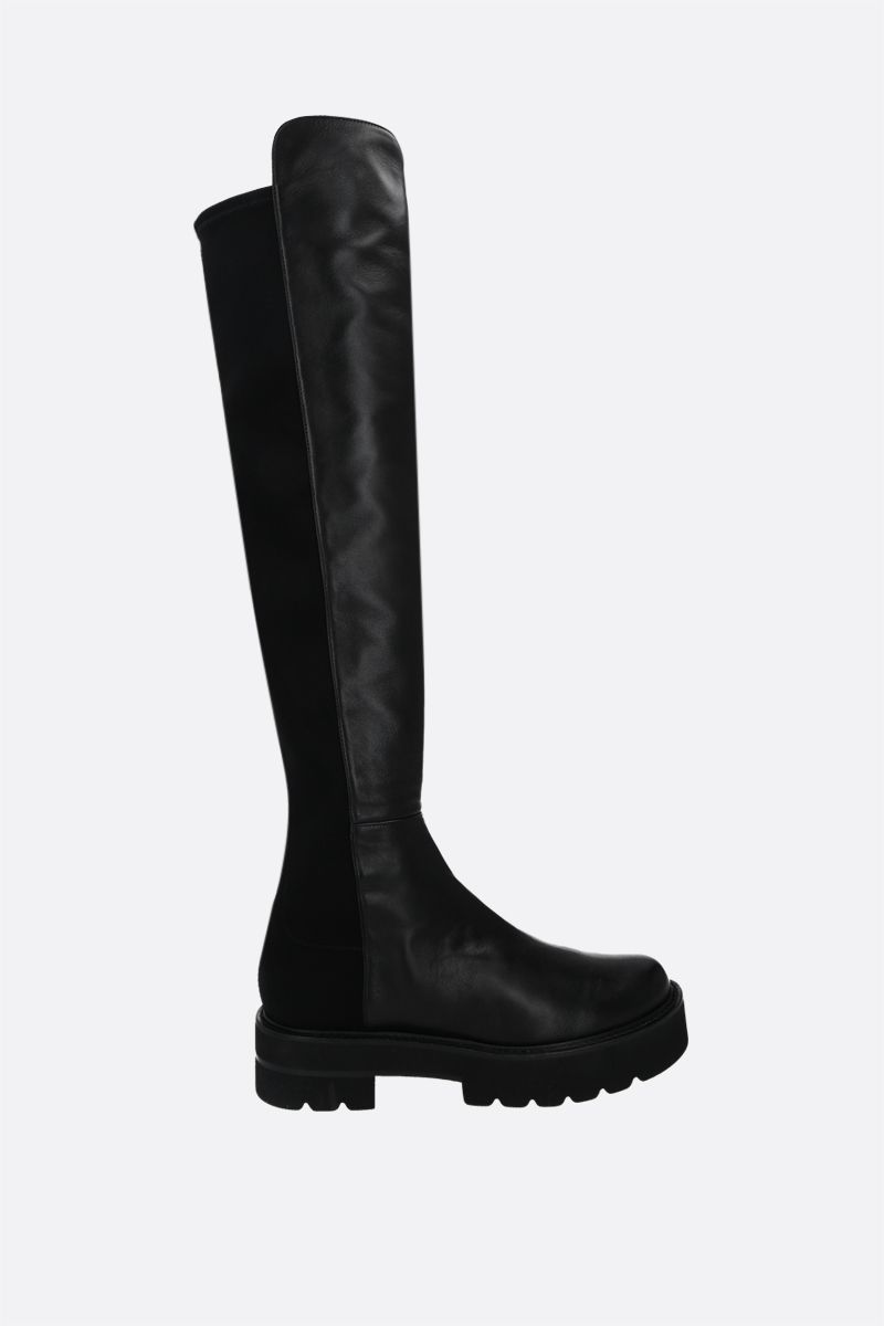 STUART WEITZMAN: 5050 Ultralift nappa and stretch gabardine over-the-knee boots Color Black_1