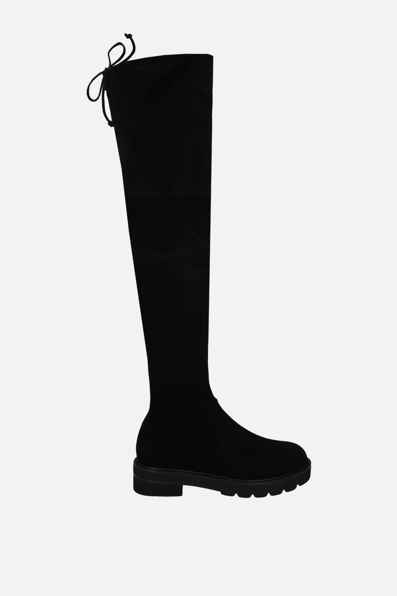 STUART WEITZMAN: Lowland Lift stretch suede over-the-knee boots Color Black_1