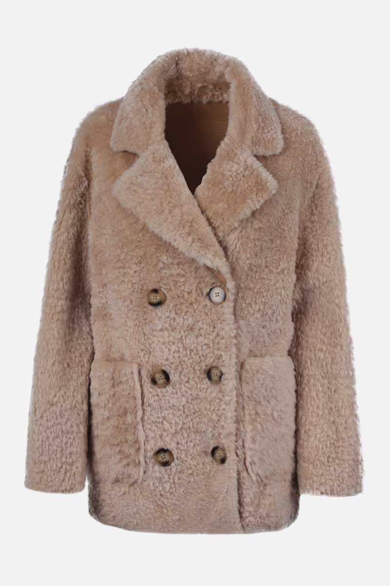 SYLVIE SCHIMMEL: Agora shearling reversible double-breasted jacket Color Neutral_1