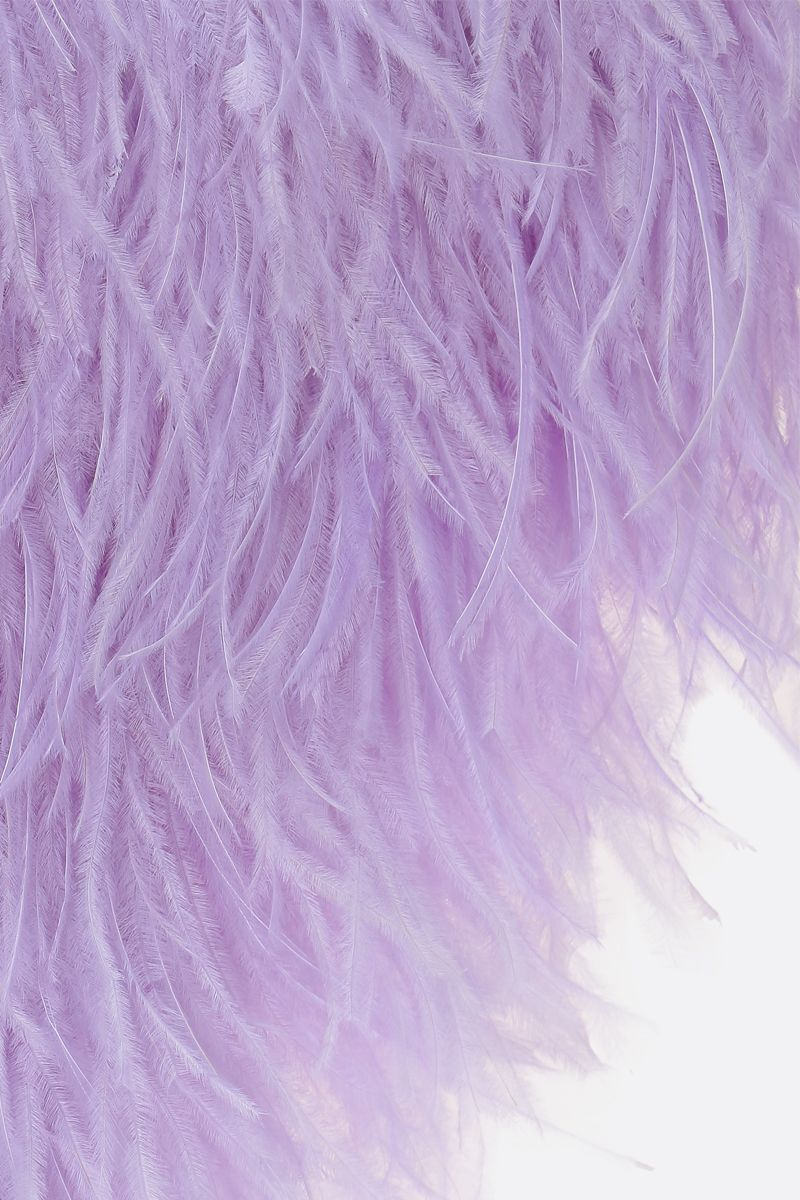 THE ATTICO: feather-embellished tulle top Color Purple_3