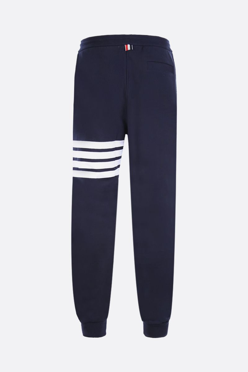 THOM BROWNE: 4-bar detailed jersey joggers Color Blue_2