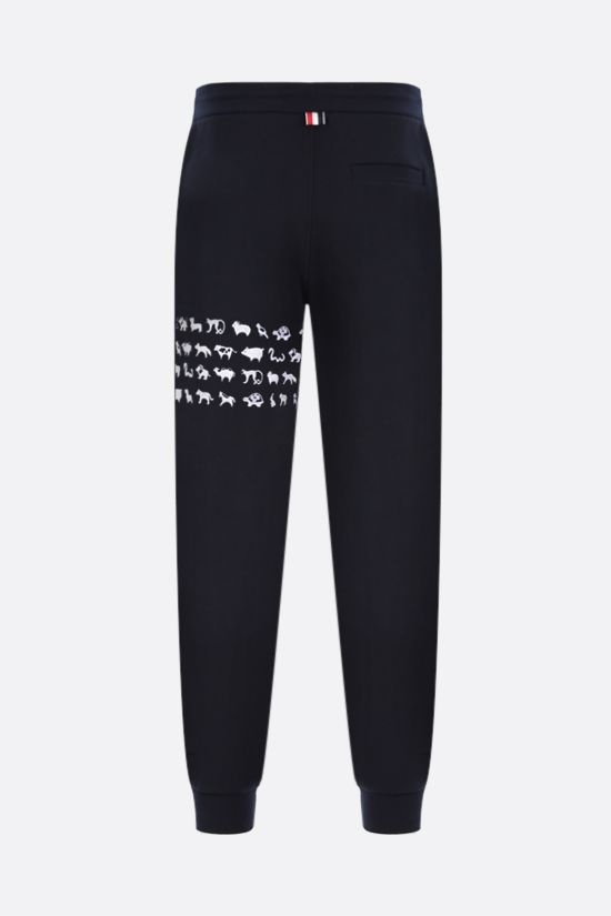 THOM BROWNE: animals embroidered cotton joggers Color Blue_2