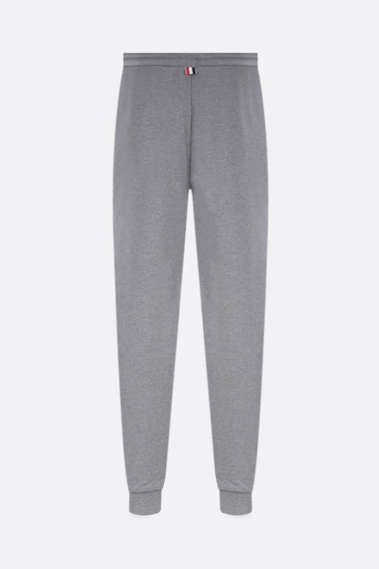 THOM BROWNE: tricolour-detailed cotton joggers Color Grey_2