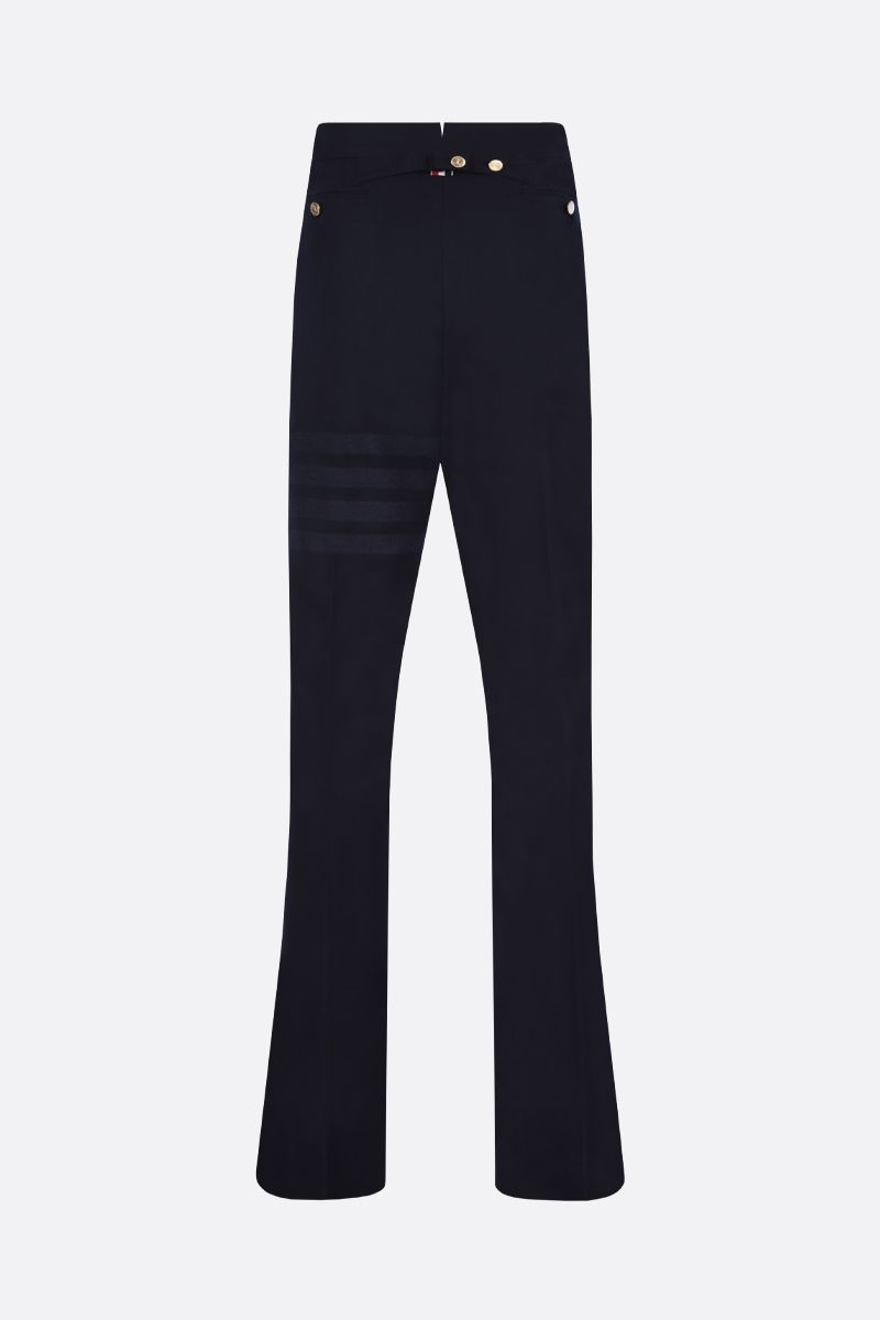 THOM BROWNE: 4-bar detailed flannel pants Color Blue_2