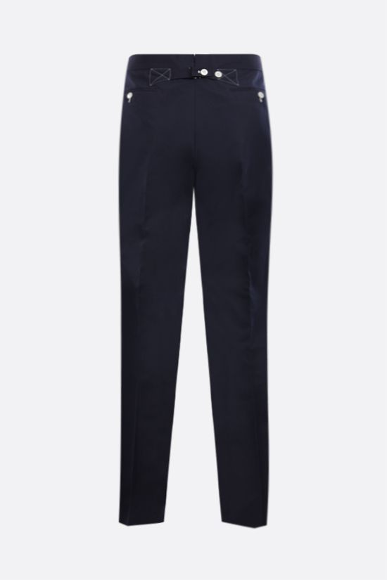 THOM BROWNE: technical cotton slim-fit pants Color Blue_2