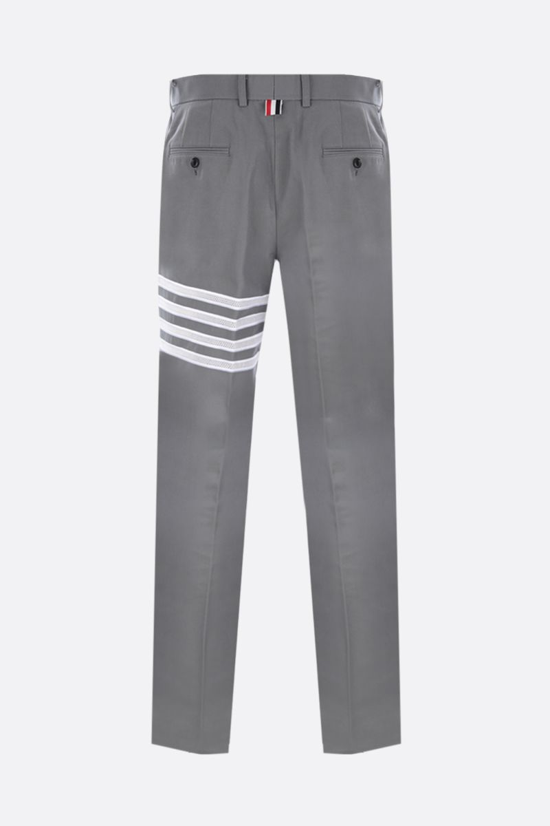 THOM BROWNE: 4-bar-detailed canvas chino pants Color Grey_2