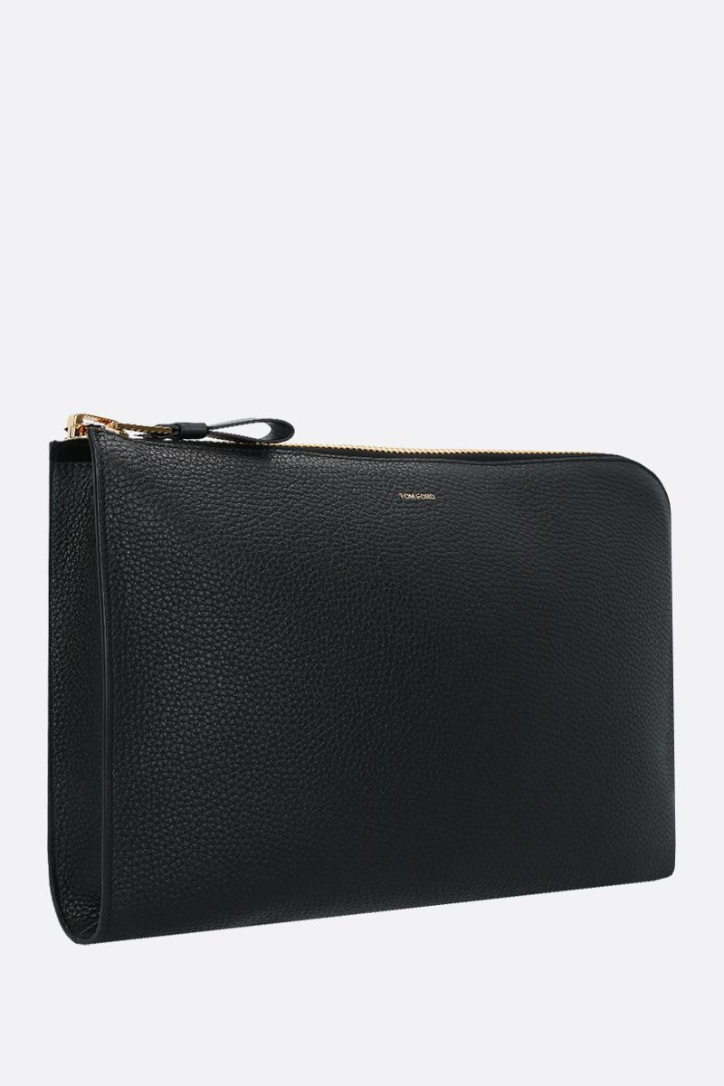 TOM FORD: porta pc in pelle martellata Colore Nero_2