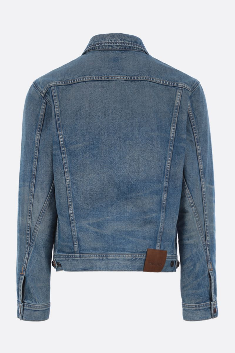 TOM FORD: logo label-detailed denim jacket Color Blue_2