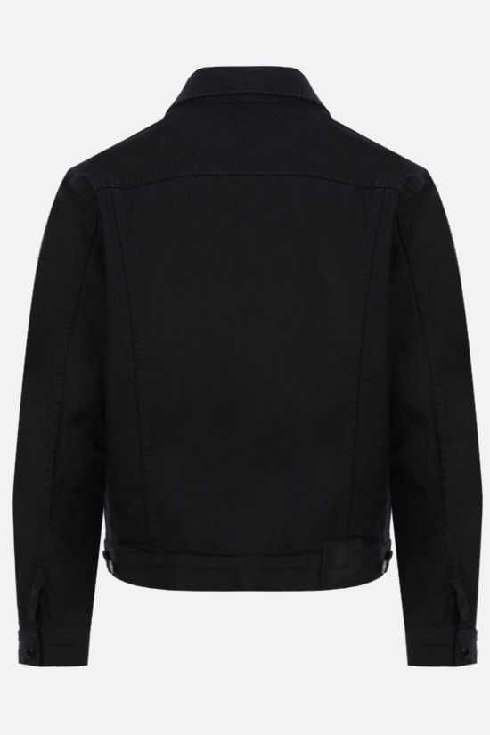 TOM FORD: logo label-detailed stretch denim jacket Color Black_2
