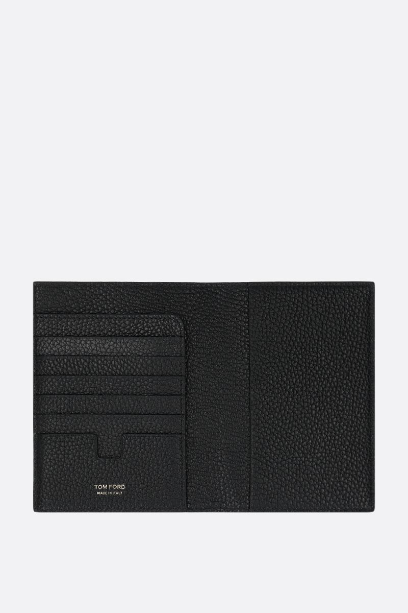 TOM FORD: porta passaporto in pelle martellata Colore Nero_2