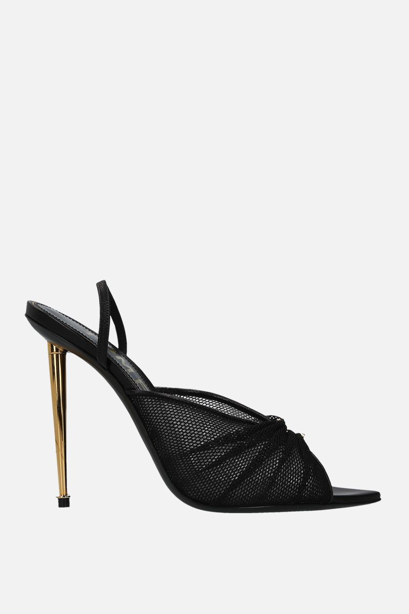 TOM FORD: mesh and smooth leather mule sandals Color Black_1