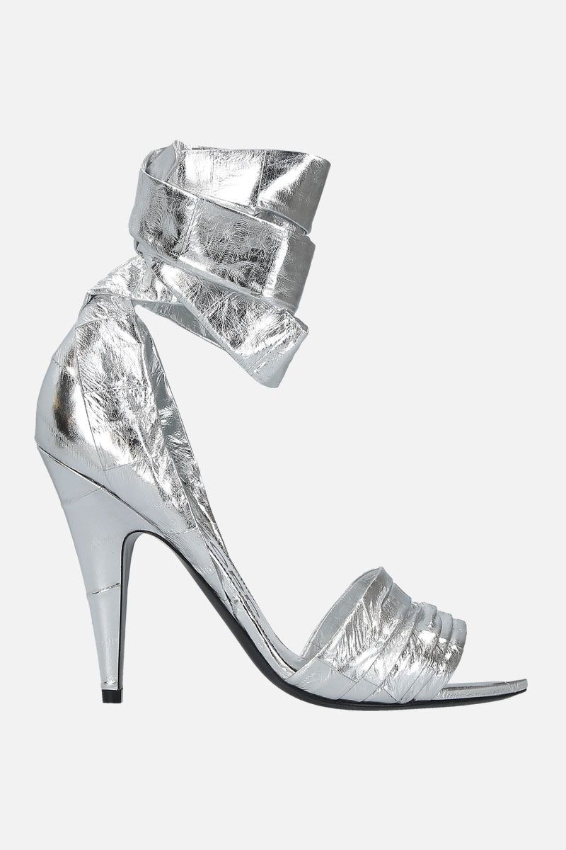 TOM FORD: laminated leather sandals Color Silver_1