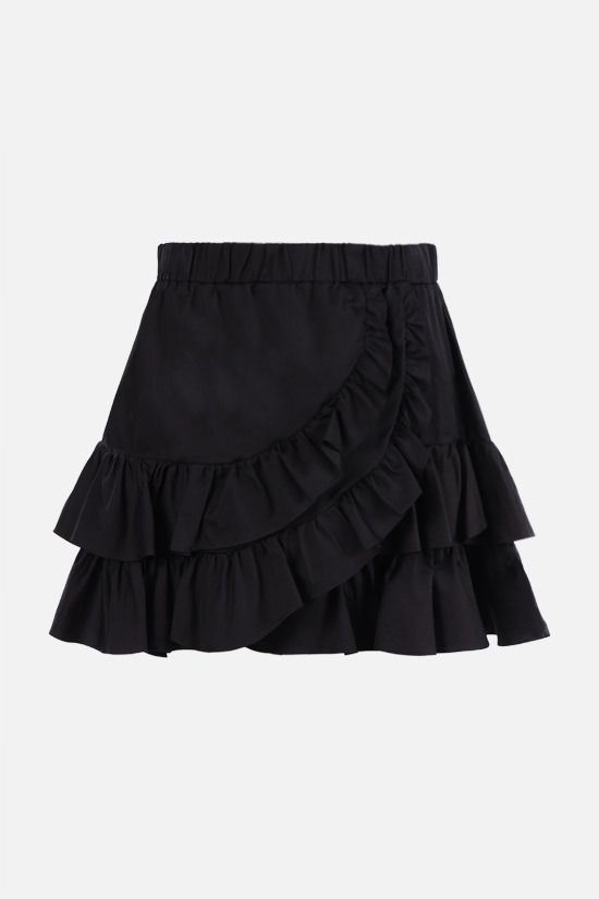 FEDERICA TOSI: silk cotton blend flounced miniskirt Color Black_1