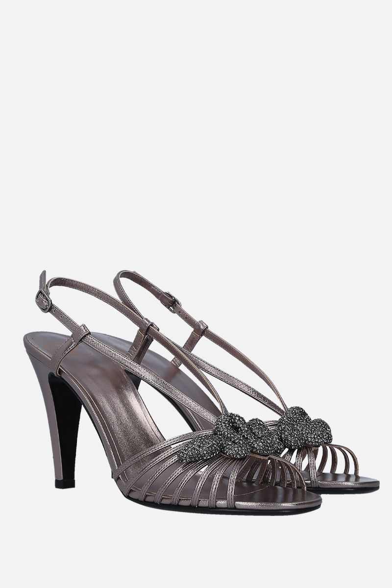 VALENTINO GARAVANI: jewel-detailed laminated leather sandals Color Silver_2