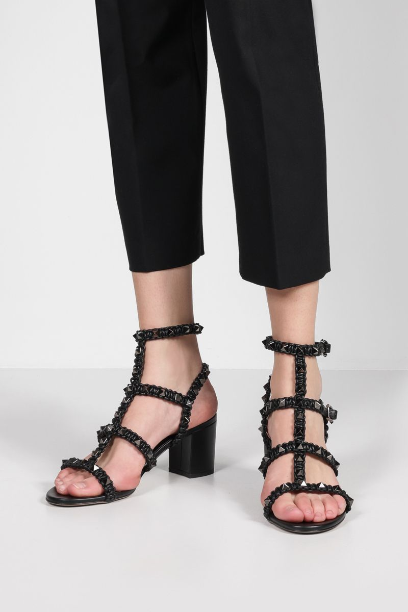 VALENTINO GARAVANI: Rockstud crochet nappa sandals Color Black_2
