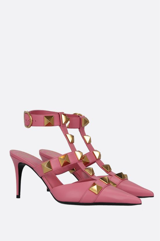 VALENTINO GARAVANI: Roman Stud smooth leather sandals Color Pink_2