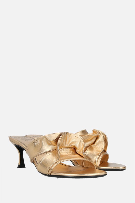 VALENTINO GARAVANI: Atelier Shoes 04 Rouches Edition laminated nappa mule sandals Color Neutral_2