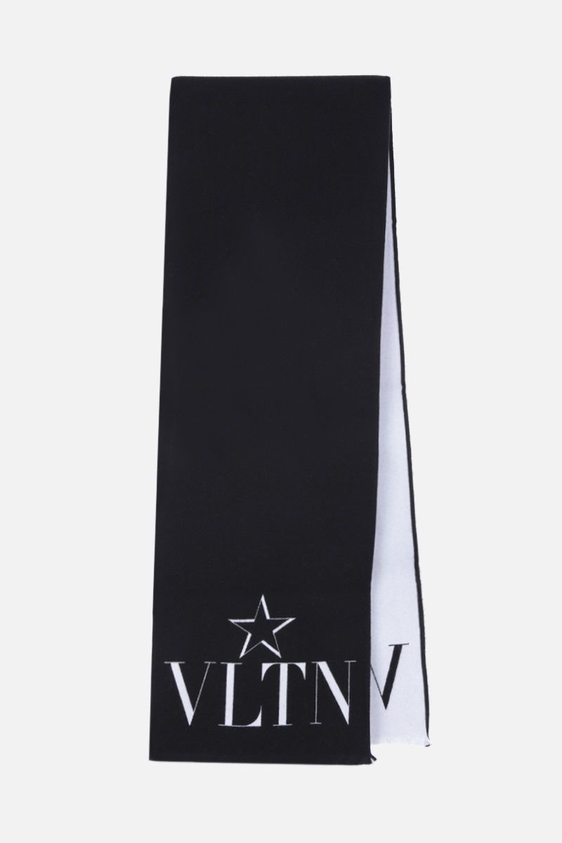 VALENTINO GARAVANI: VLTN Star scarf in wool silk blend Color Black_2