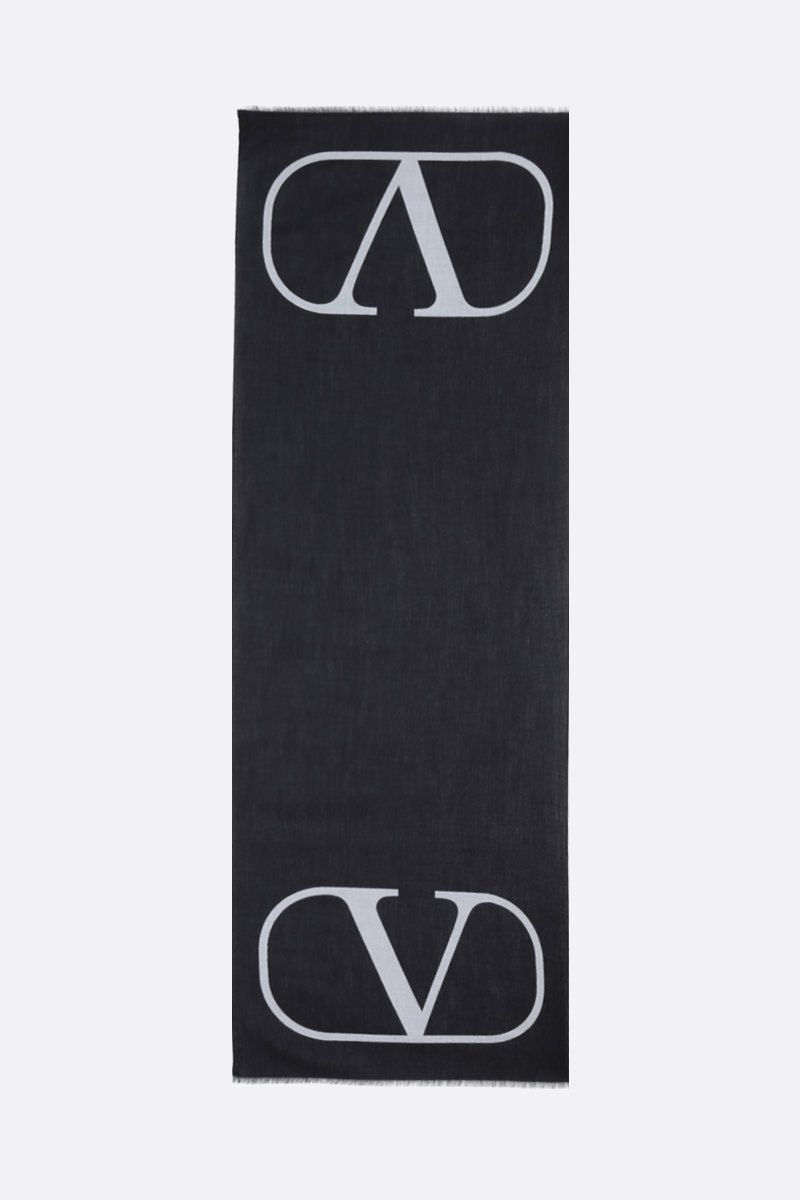 VALENTINO GARAVANI: VLOGO wool silk blend stole Color Black_2