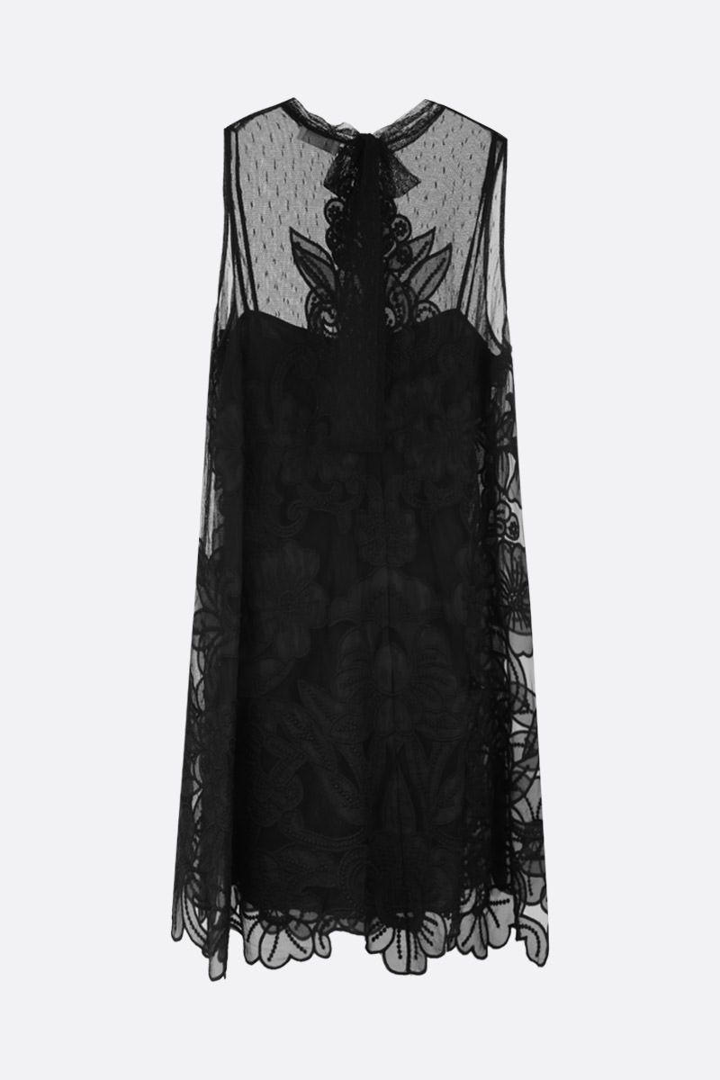 RED VALENTINO: point d'esprit tulle A-line dress Color Black_2