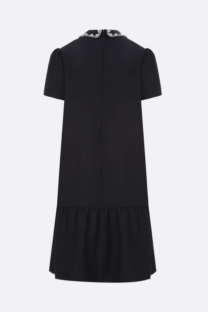 RED VALENTINO: collar-detailed crepe envers satin short dress Color Black_2