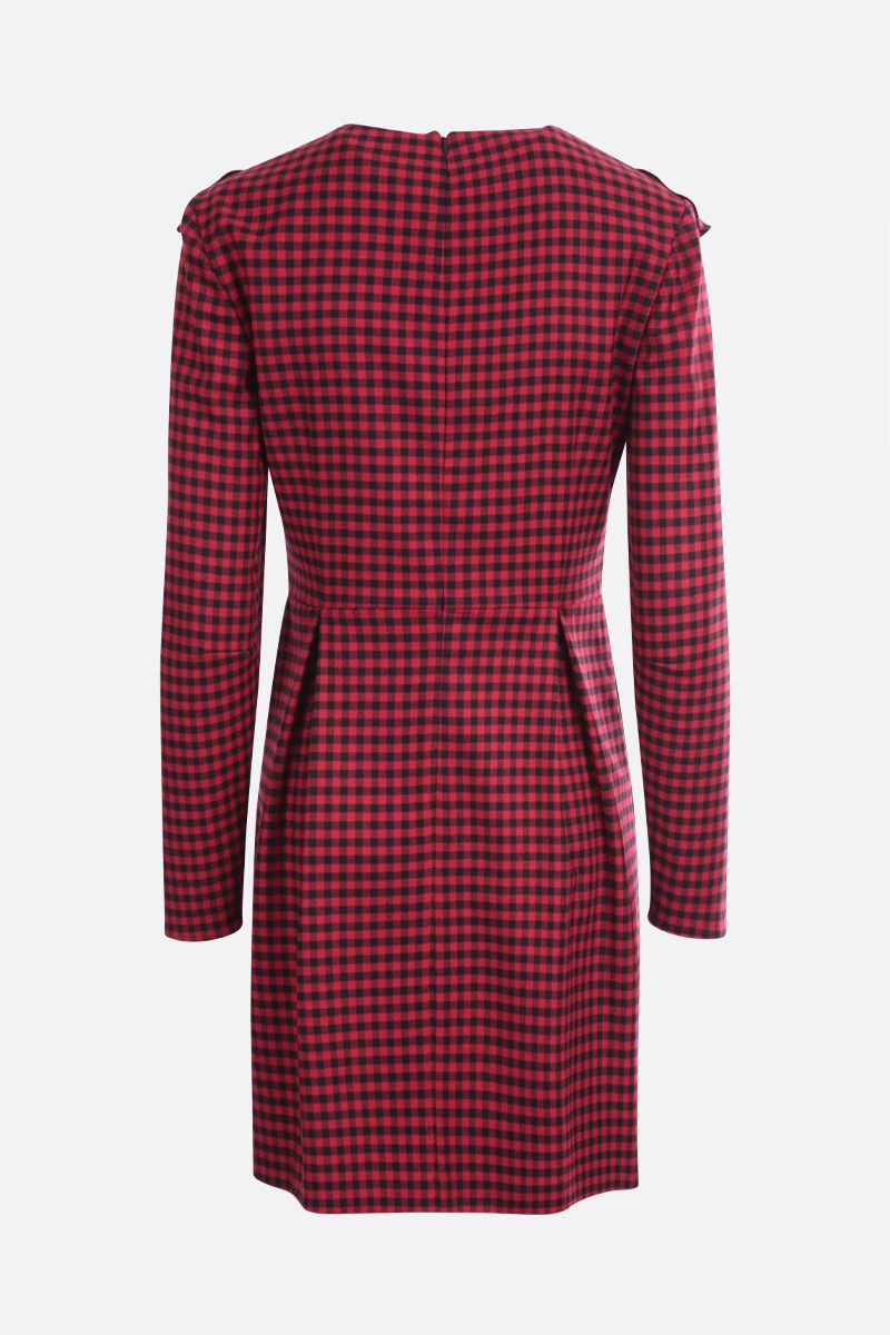 RED VALENTINO: check wool blend short dress Color Black_2