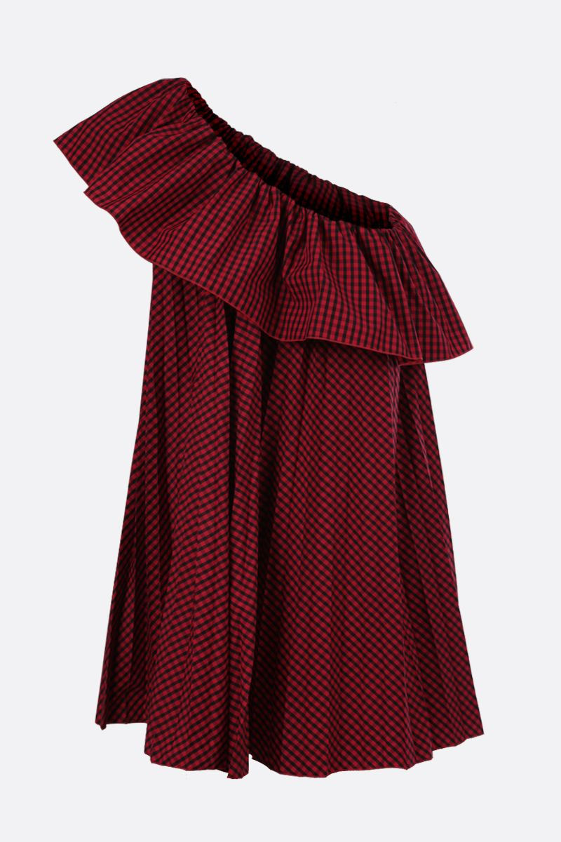 RED VALENTINO: pleated poplin one-shoulder dress Color Red_2