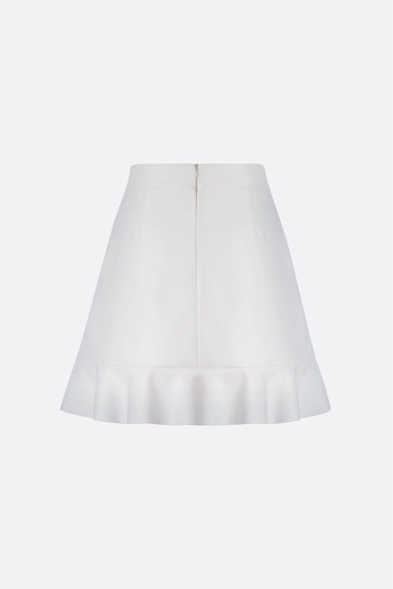 RED VALENTINO: frilled trim-detailed drill miniskirt Color White_2