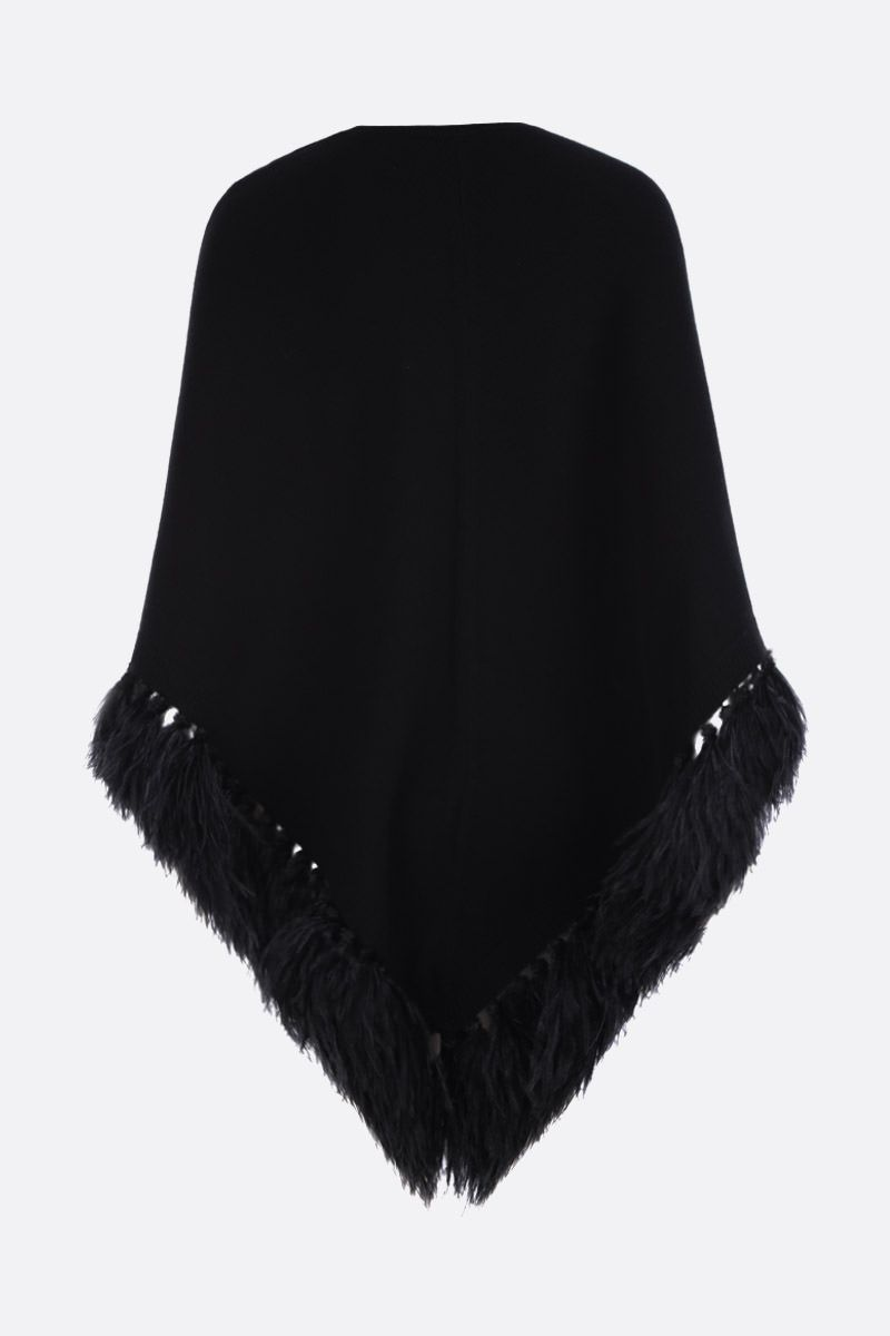 VALENTINO: feathers-embellished wool cashmere blend cape Color Black_2