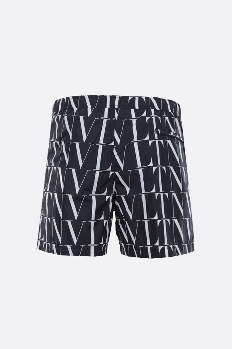 VALENTINO: VLTN TIMES print nylon swim shorts Color Black_2