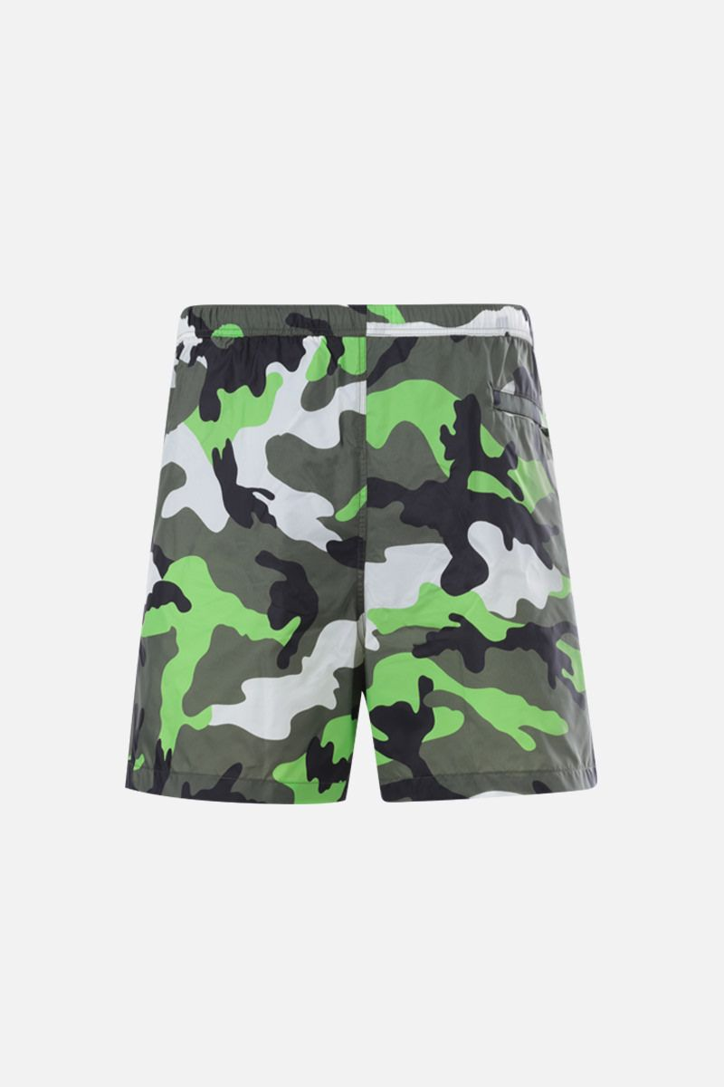 VALENTINO: camouflage print nylon swim shorts Color Black_2
