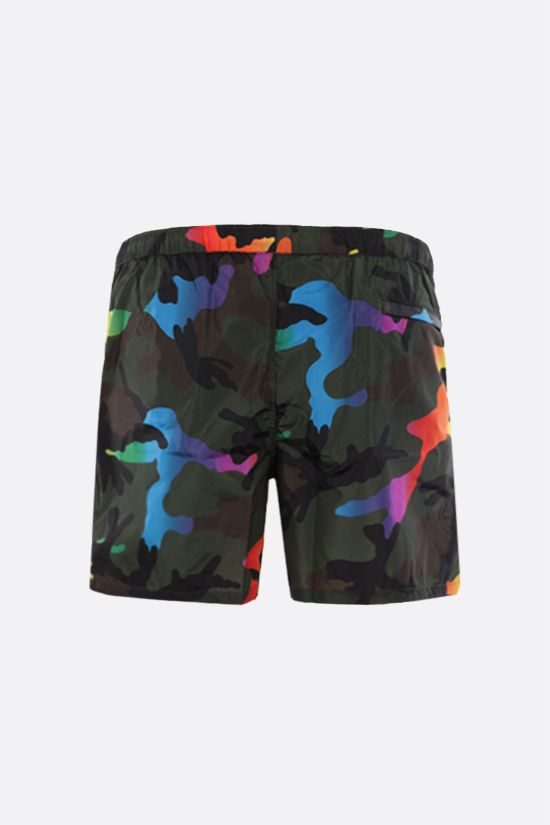 VALENTINO: camouflage print nylon swim shorts Color Green_2