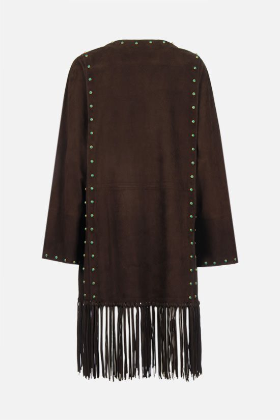 VALENTINO: jewel embellished fringed suede coat Color Brown_2