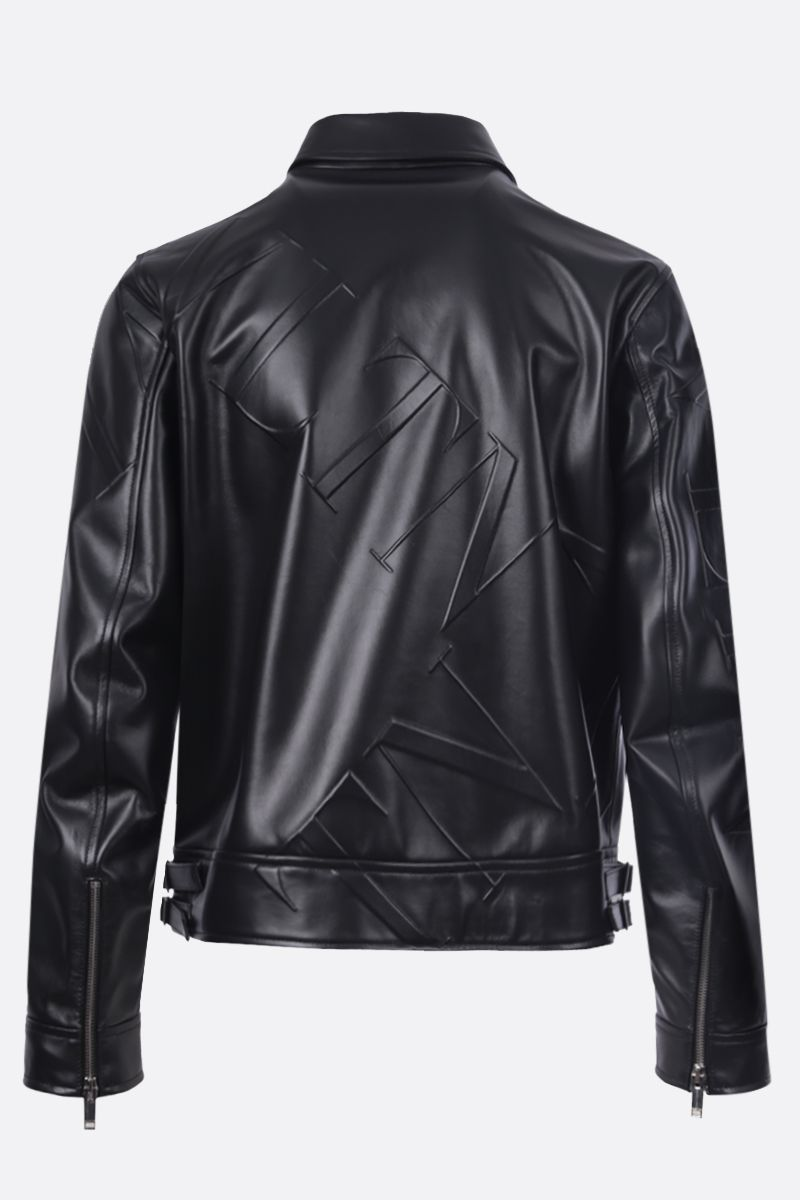 VALENTINO: VLTN GRID smooth leather jacket Color Black_2