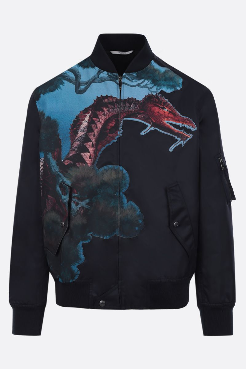 VALENTINO: Dragons Garden nylon bomber jacket Color Blue_1