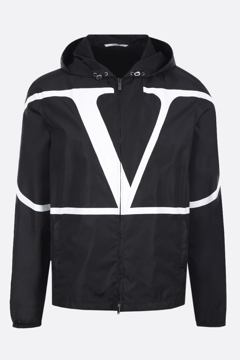 VALENTINO: VLOGO print nylon windbreaker Color Black_1