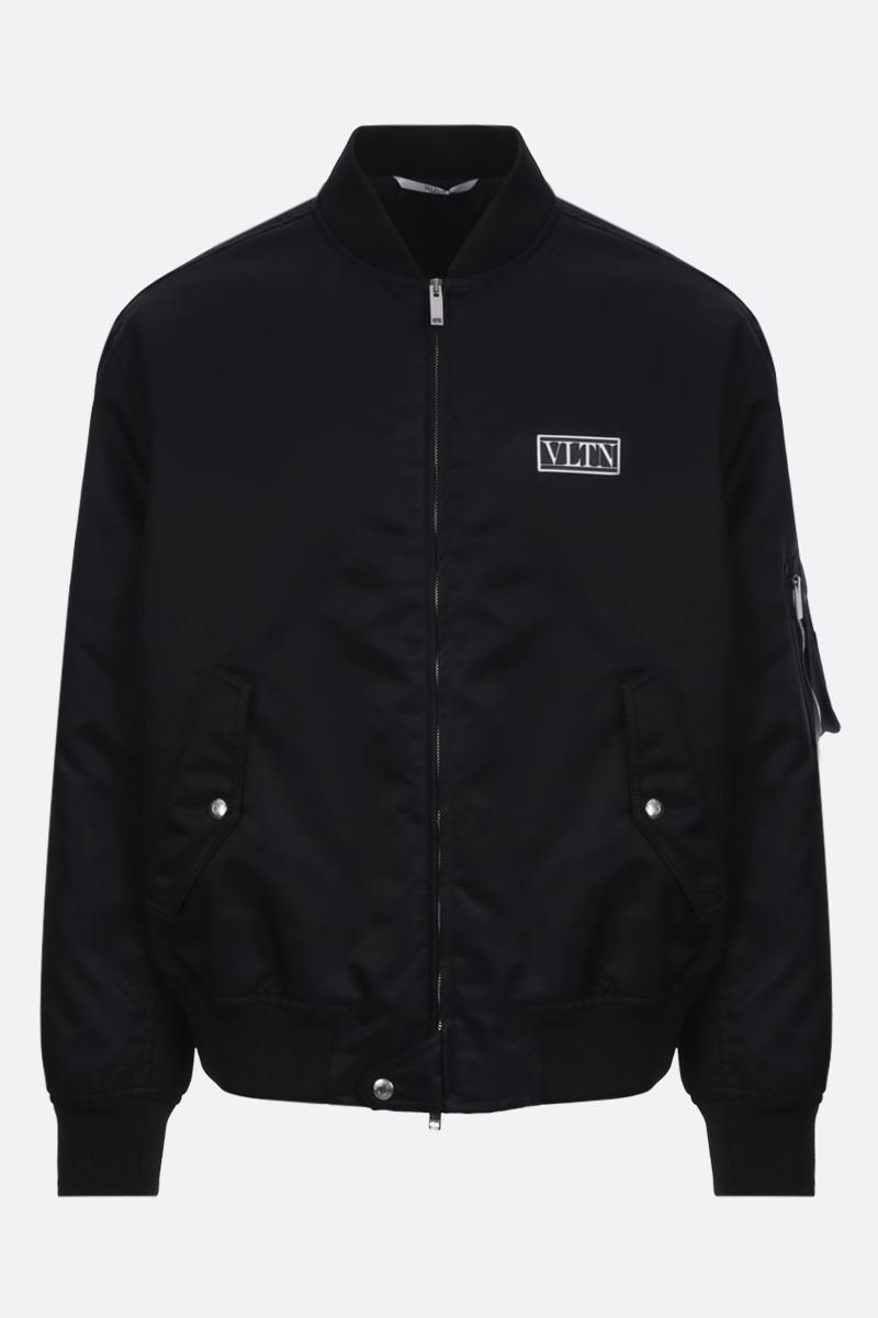VALENTINO: VLTN TAG nylon padded bomber jacket Color Black_1