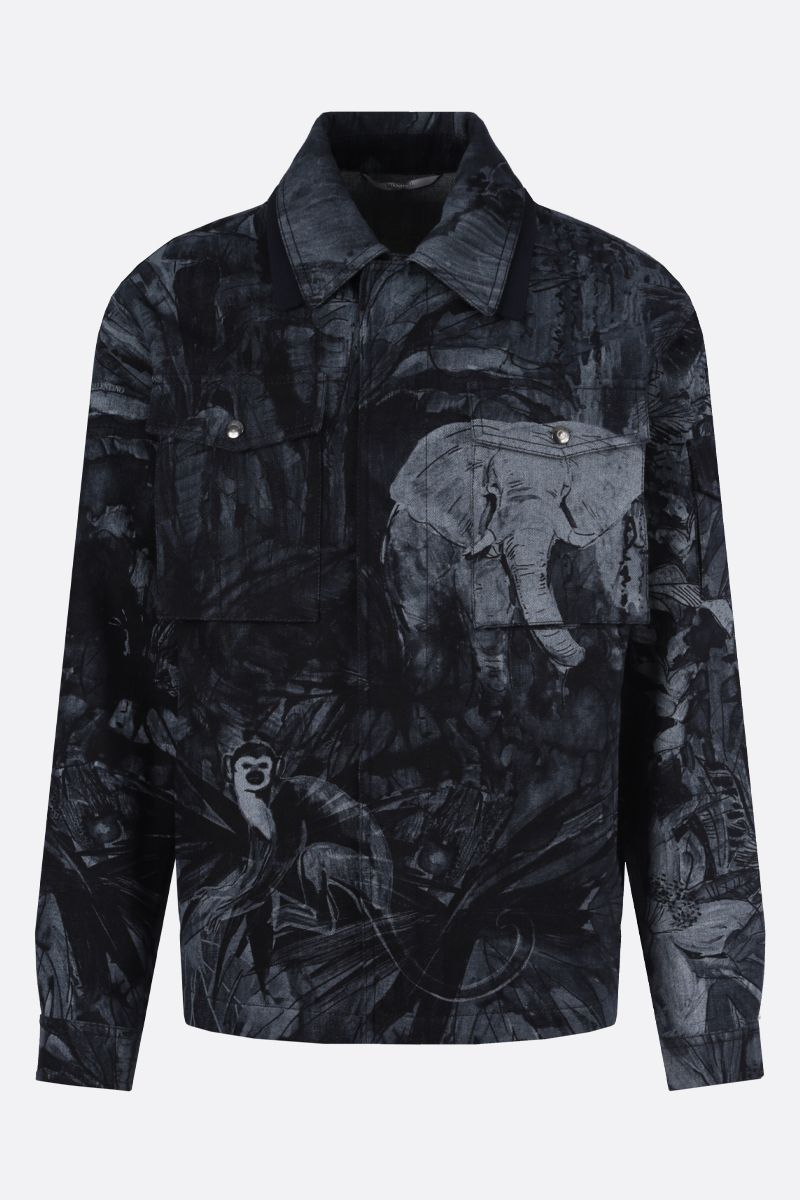 VALENTINO: Mural Jungle print denim jacket Color Blue_1