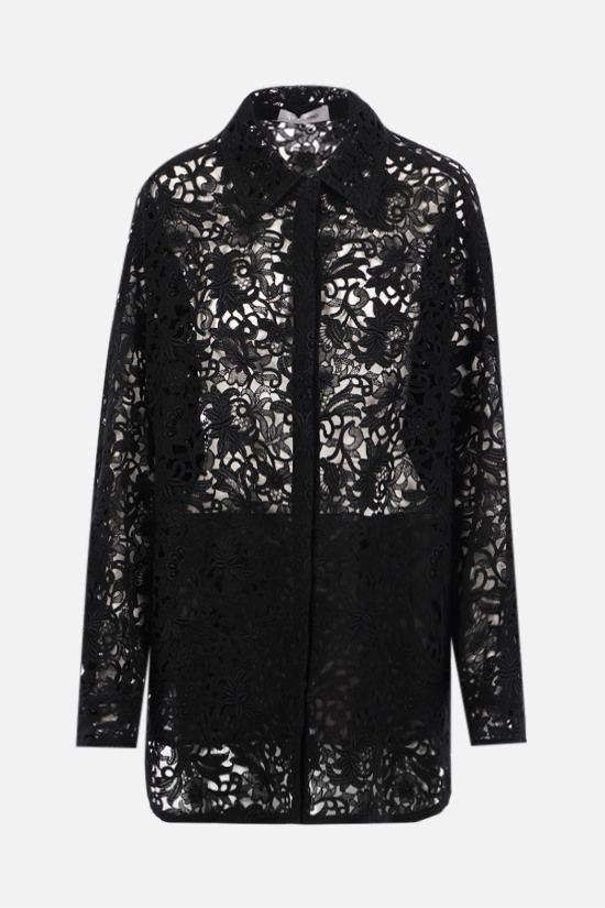 VALENTINO: floral lace oversize overshirt Color Black_1