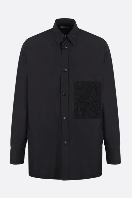 VALENTINO: lace-detailed nylon overshirt Color Black_1