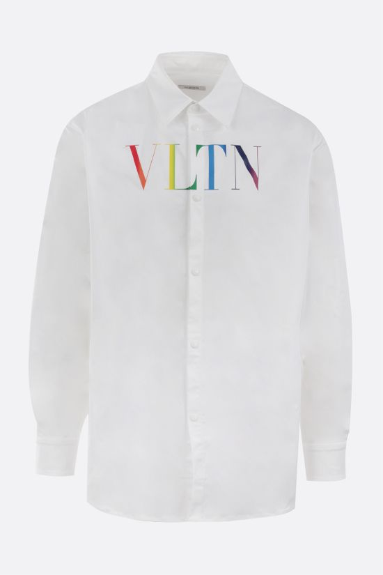 VALENTINO: VLTN Multicolor print nylon overshirt Color White_1