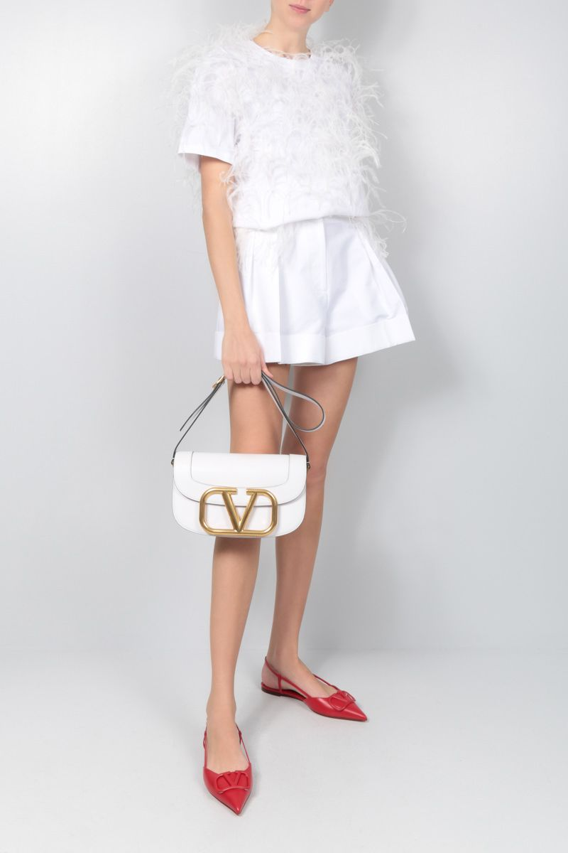 VALENTINO: cady cotton darted shorts Color White_2