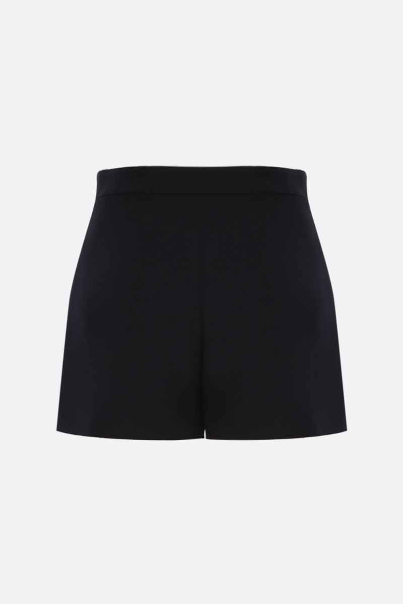 VALENTINO: V Gold-detailed Crepe Couture shorts Color Black_2