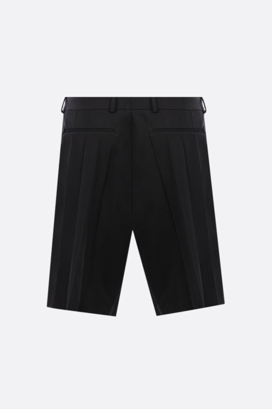 VALENTINO: pleated technical wool shorts Color Black_2