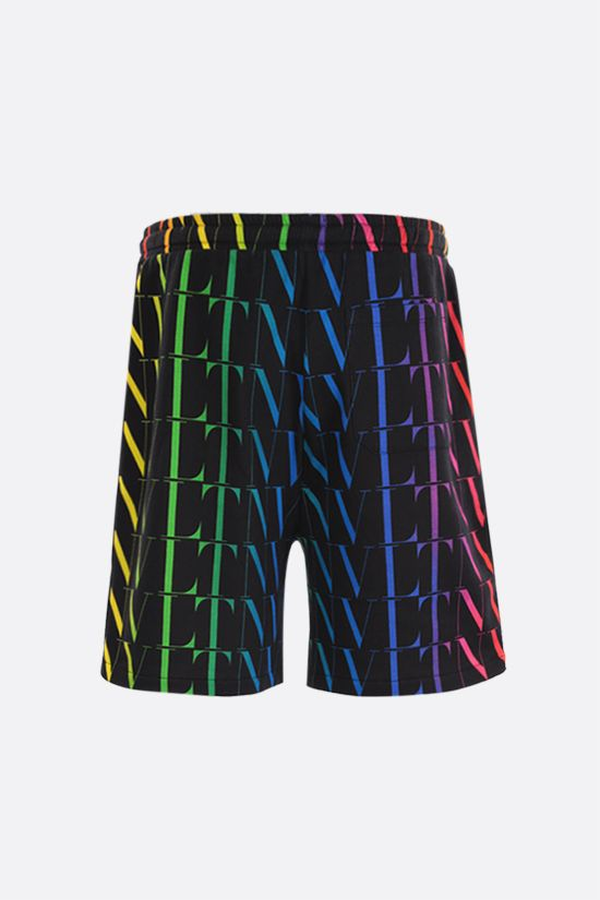 VALENTINO: VLTN TIMES print cotton blend shorts Color Black_2