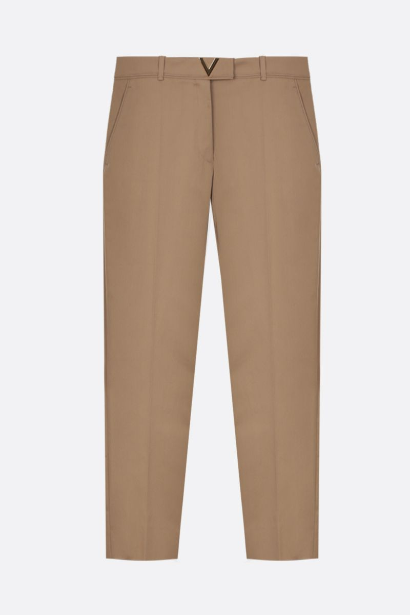 VALENTINO: V Gold-detailed stretch cotton cropped pants Color Neutral_1