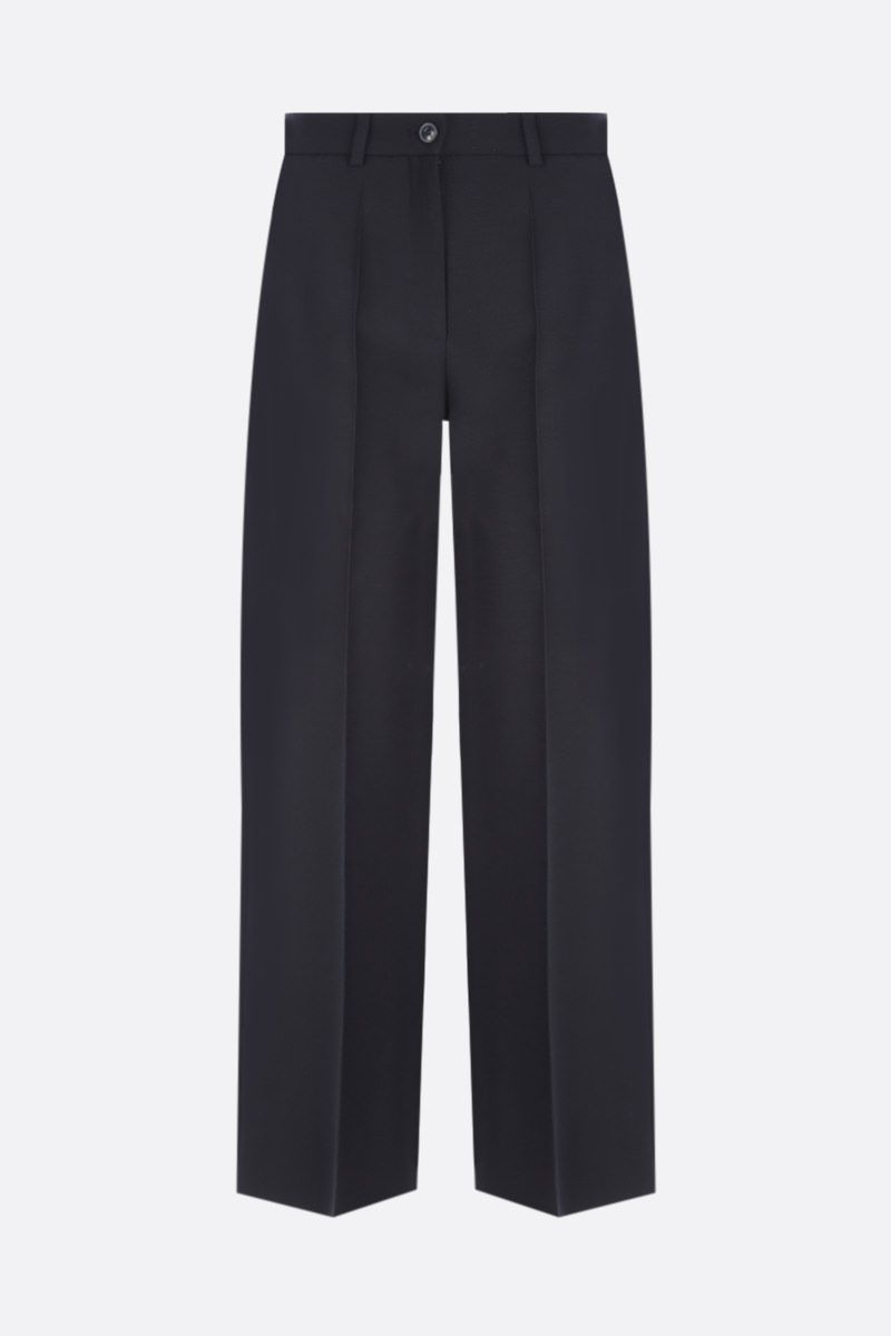 VALENTINO: silk wool blend wide-leg cropped pants Color Black_1
