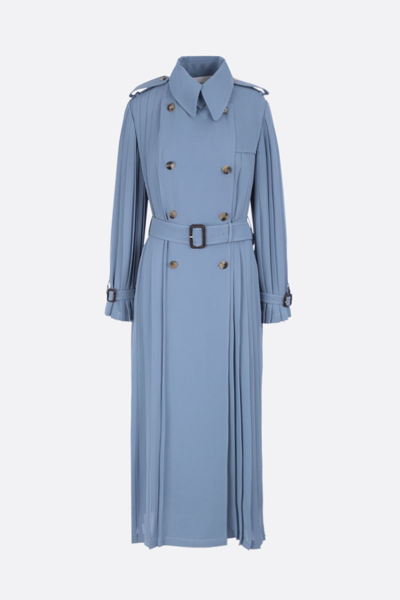 VALENTINO: pleated georgette trench coat Color Blue_1